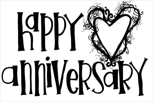 Black and White Happy Anniversary Clip Art
