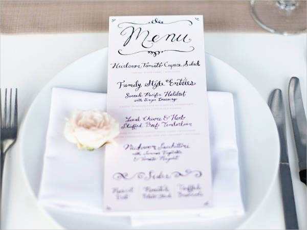 free wedding menu printable