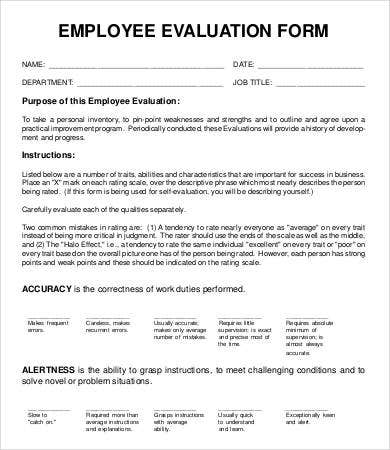 blank employee evaluation form template
