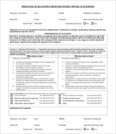Employee evaluation form template 13 free word pdf for Yearly employee review template