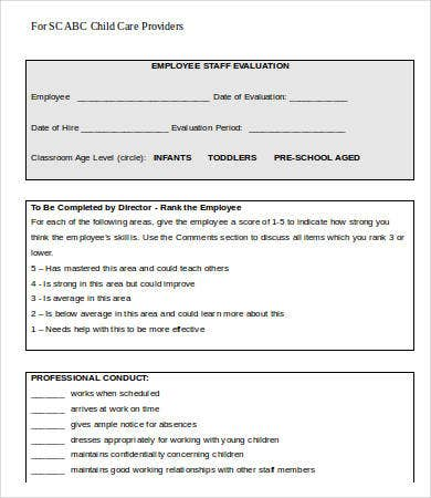 child care employee evaluation form