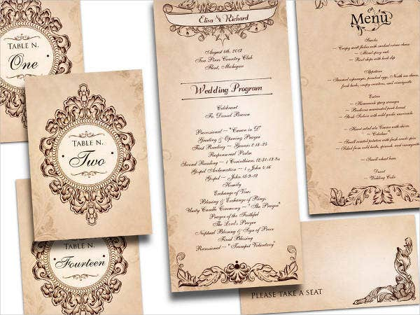 Free wedding program templates 9 free psd vector ai for Free wedding program templates