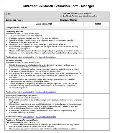 six month employee evaluation form
