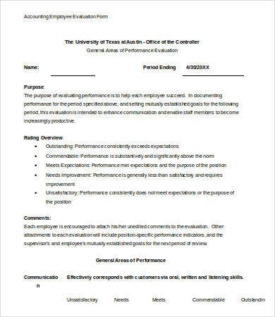 accountant performance evaluation sample Employee Evaluation Form Template - 13  Free Word, PDF Documents ...