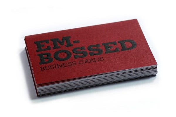 simple embossed business card