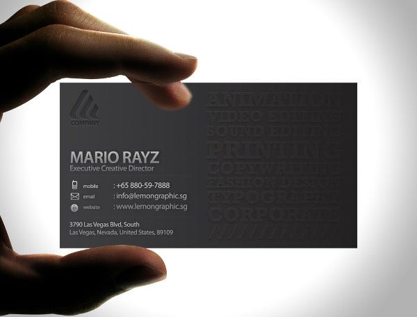 minimalist embossed business card