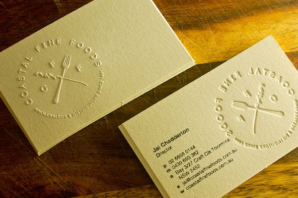 free coastal fine foods business card