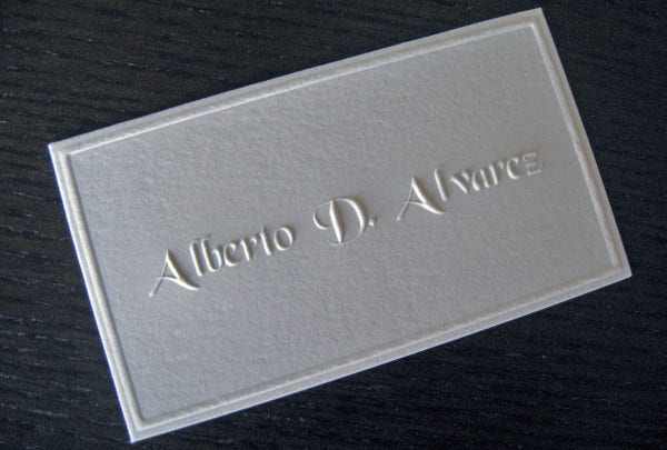embossed business card by alexandra daley