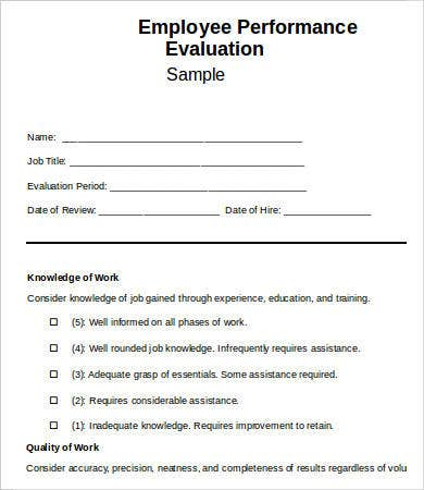 Employee Evaluation Form Template   Free Word Pdf Documents