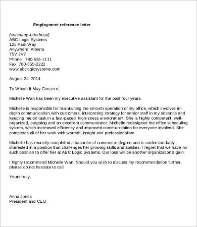 Letter Of Recommendation For Employment 9 Free Word