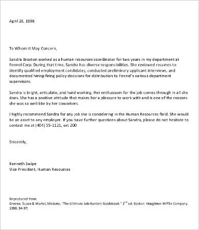 Letter Of Recommendation For Employment   Free Word Pdf