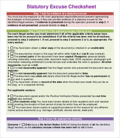 Statutory Excuse Checksheet Template