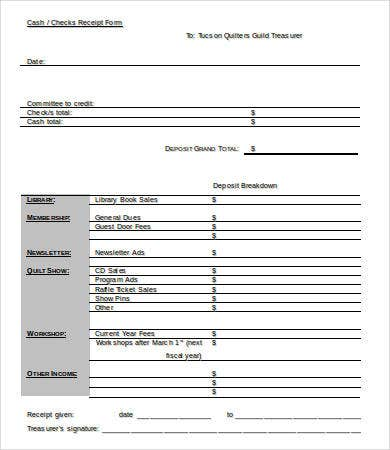 Check Receipt Form Template