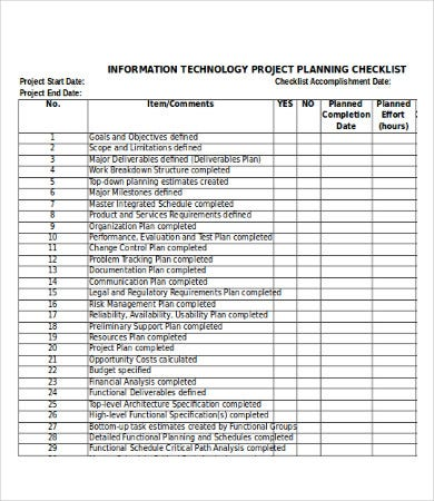 Project Checklist Template Excel