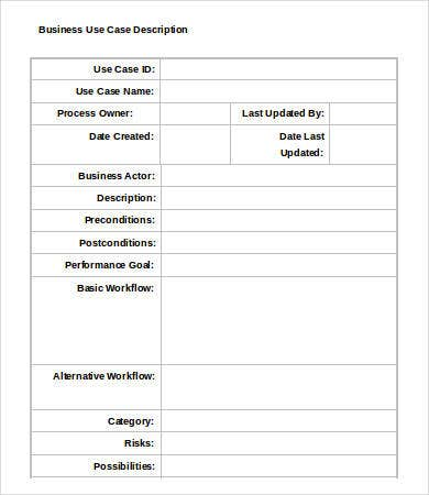 business use case template