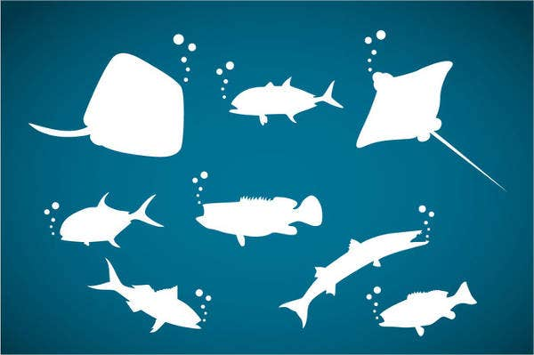 ocean-animals-silhouette-vector