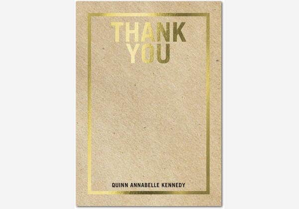 Simple Letterpress Thank You Card