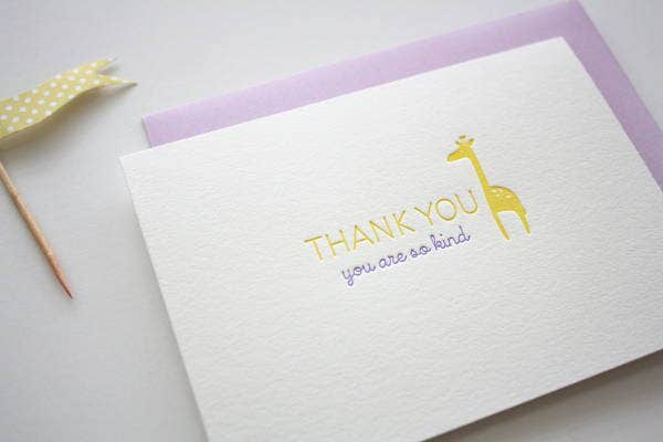 Letterpress Baby Thank You Card