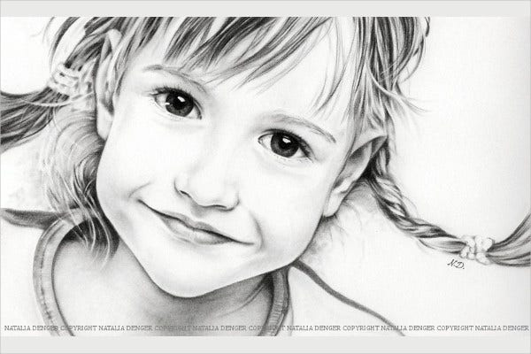 Realistic Drawing of Cute Girl