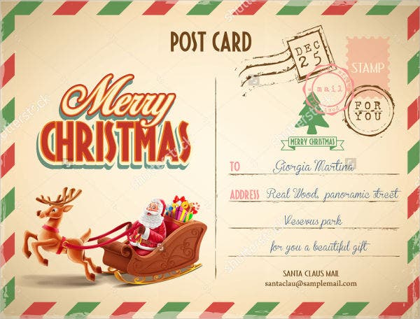 Retro Christmas Postcard Template