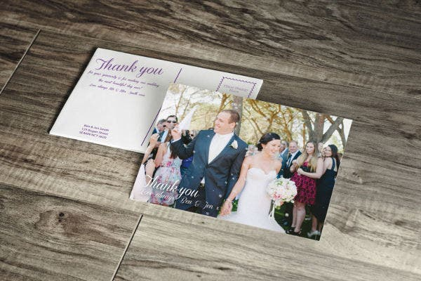 printed wedding thank you postcard