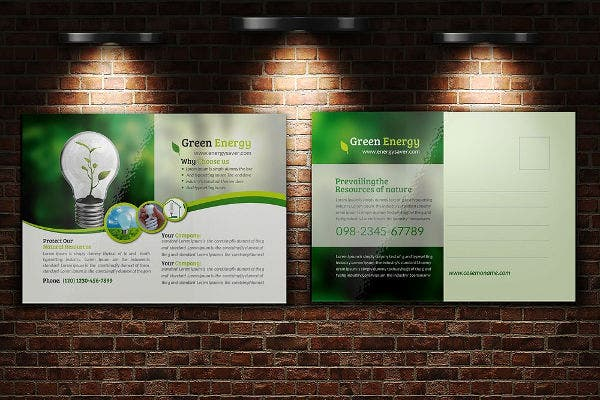 green energy postcard template