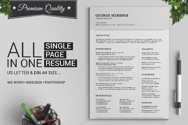 All in One Single Page Resume