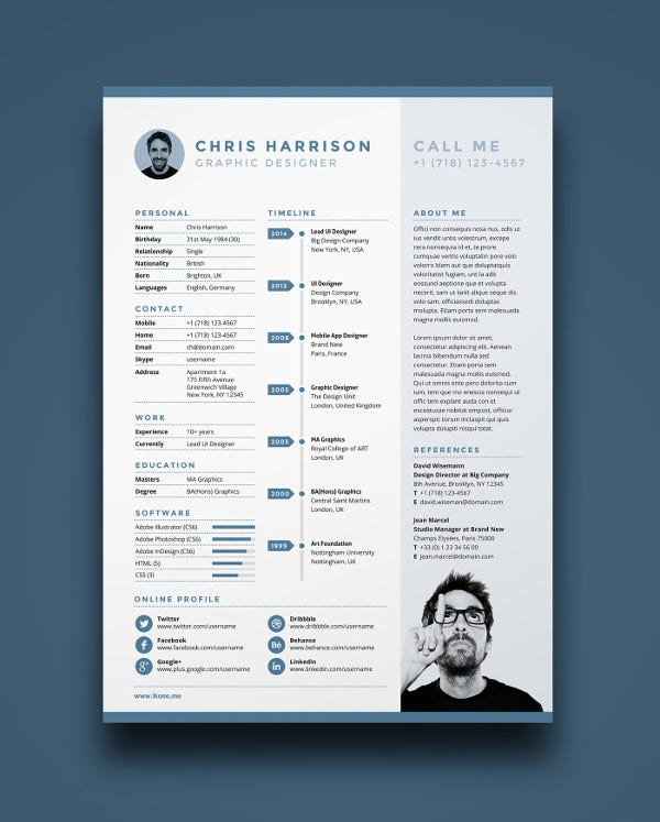 Free Single Page Resume Template  Single Page Resume