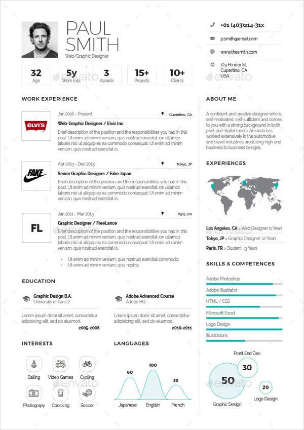 infographic one page resume template