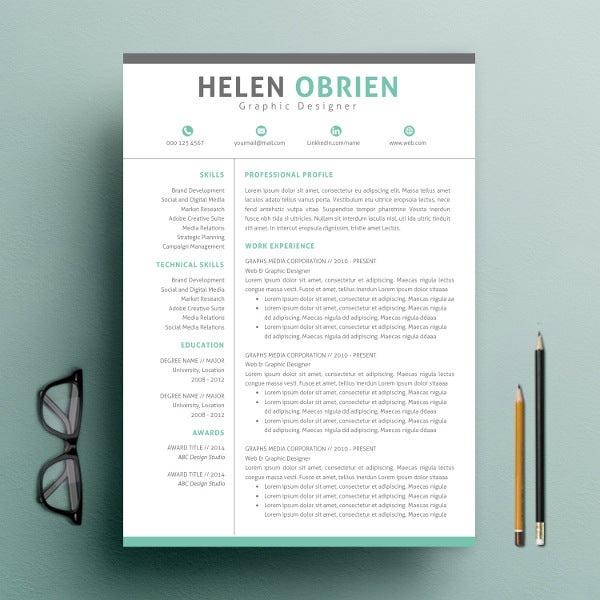 One Page Resume Template Word  Single Page Resume