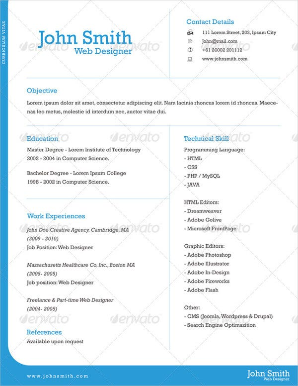 Great Professional One Page Resume