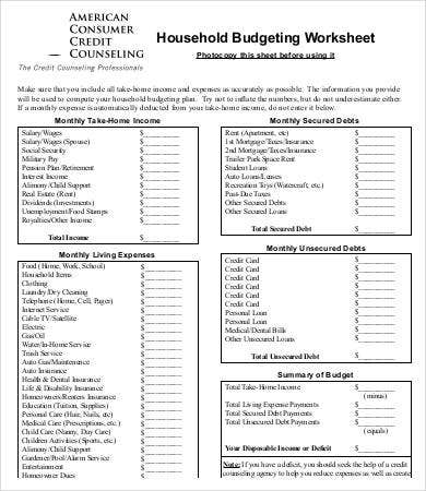 Household Budgeting Sheet Template
