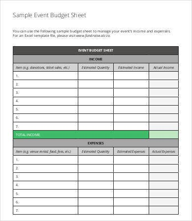 Sample Event Budget Sheet Template
