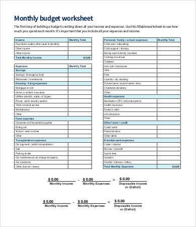Monthly Budget Work Sheet Template
