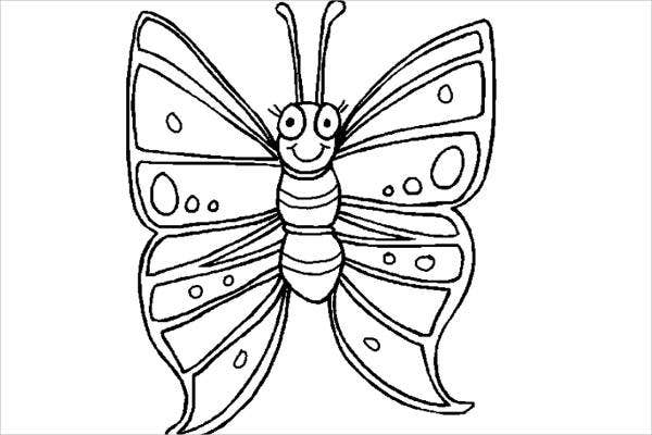 Childrens Butterfly Coloring Page