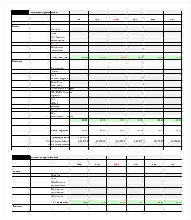 Student Budget Sheet Sample