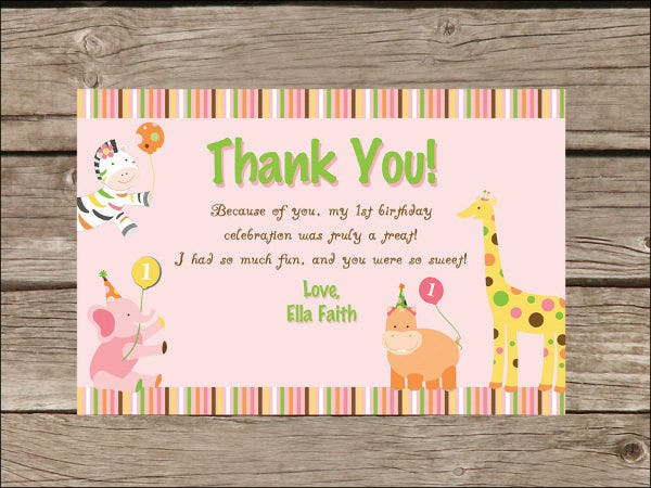 Printable birthday Thank You Card Template