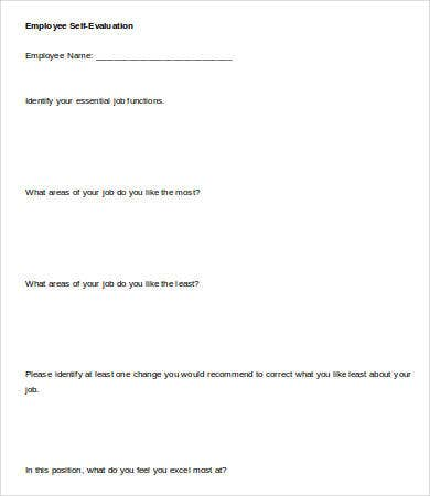 Employee Self Evaluation Template  Employee Self Evaluation Forms Free
