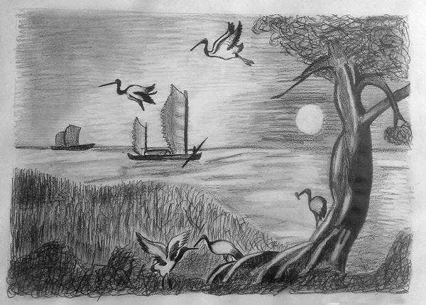Nature pencil drawing details file format free download