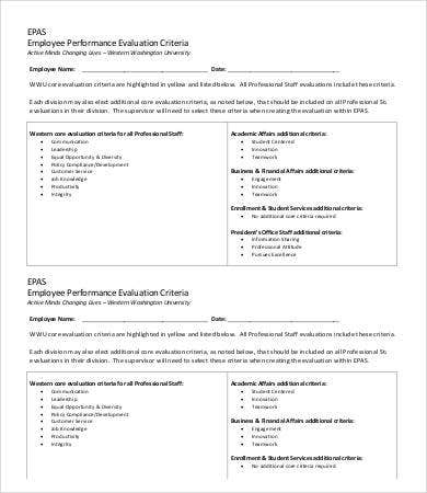 Employee Performance Evaluation Criteria Template