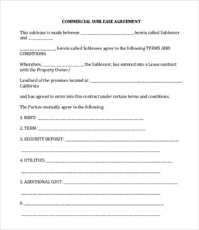 Commercial lease agreement template 12 free word pdf for Subletting lease agreement template