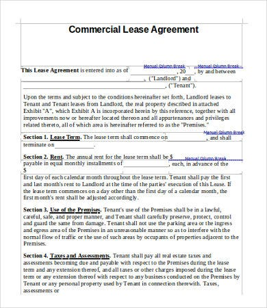 Commercial Lease Agreement Template - 9+Free Word, Pdf Documents