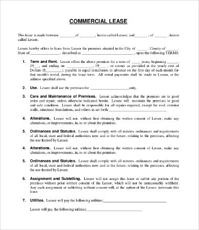 commercial lease agreement template 9 free word pdf