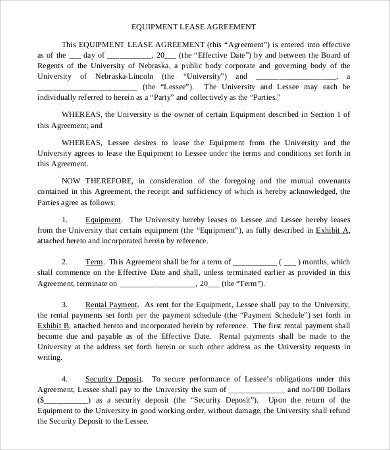 Commercial Equipment Lease Agreement Template