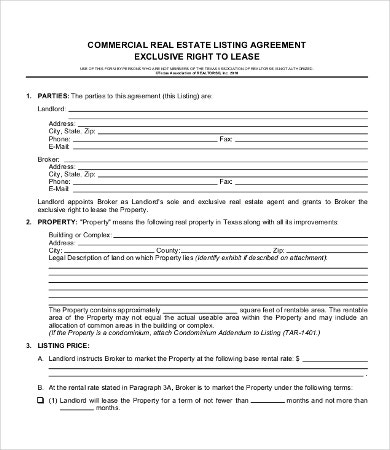 Commercial Real Estate Lease Agreement Template