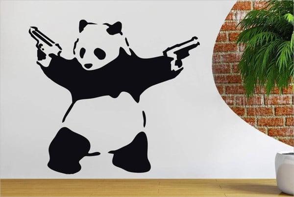 stencil art of panda