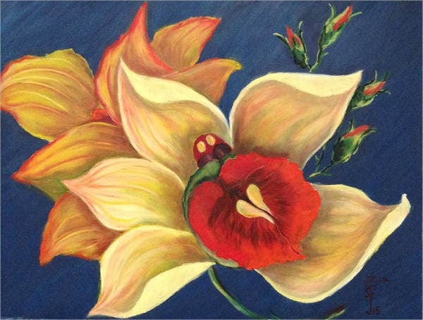 oil-pastel-flower-art