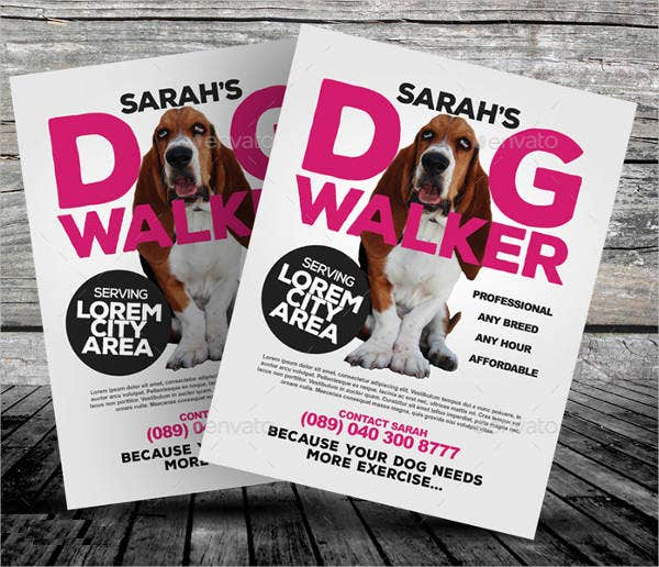 printable dog walking flyer