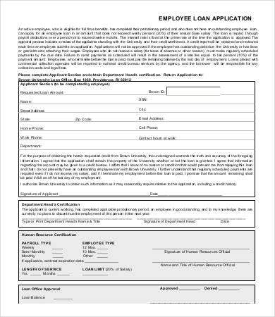 Employee Loan Application Template