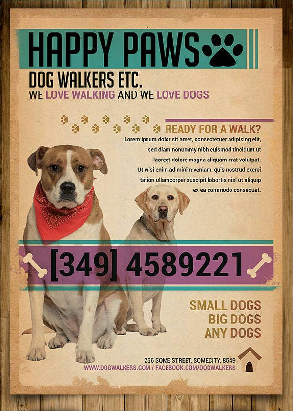 Dog walking flyer template 14 free psd vector ai eps for Walking certificate templates